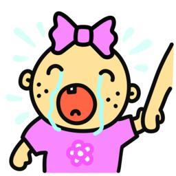 Cartoon crying baby girl isolated vector illustration Vector