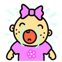 Cartoon crying baby girl isolated vector illustration Vector