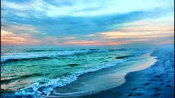 Beautiful and dramatic sunset evening on a white sand beach Footage