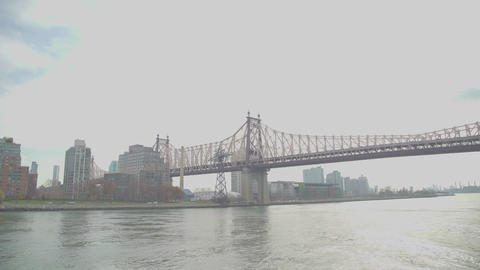 Bridge in new York city with river views Footage