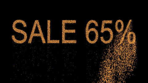 sale tag SALE 65% appears from the sand, then crumbles. Alpha channel Animation
