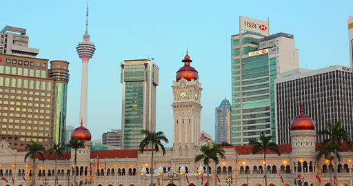 Kuala Lumpur's contemporary skyline. with the Sultan Abdul Samad Building Live Action
