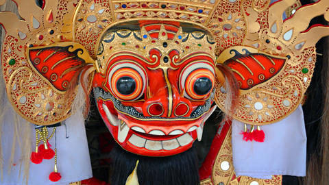 Ancient mask of Barong - character of the mythology of Bali island. Indonesia Footage