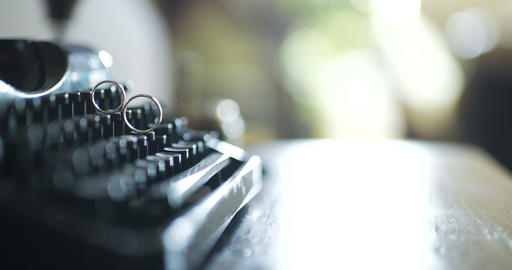 Wedding Rings on Typewriter, Love, Romance, Togetherness Footage
