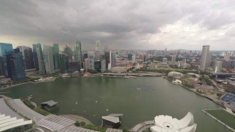 View of the bay from the roof of Marina Bay Sands. Singapore. Video 4k Footage