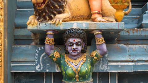 Sri Lanka. A frightening decoration of a Hindu temple Footage