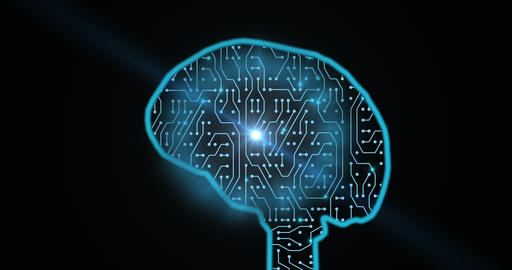 Human Brain Covered With Circuit Board Animation