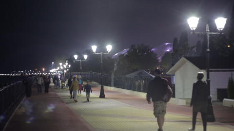 People walk in the evening along the promenade in Sochi 3 Footage