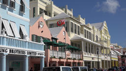 Bermuda capital city Hamilton colorful colonial style houses in Front Street Footage