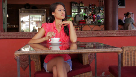 gorgeous asian woman in cafe Footage