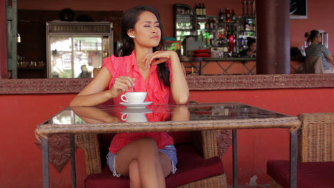 gorgeous asian woman in cafe Stock Video Footage