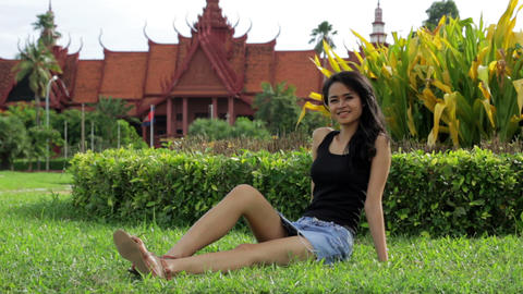 Cambodian attractive girl, national museum Footage
