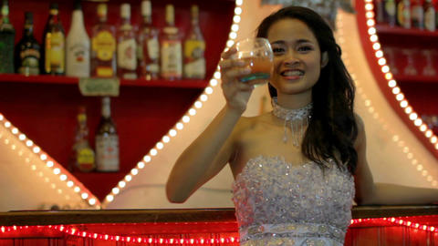 gorgeous asian woman alone at bar Stock Video Footage