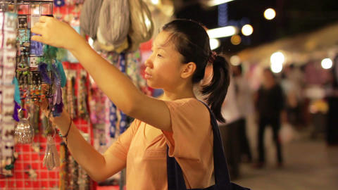 Shopping Asian Night Market Stock Video Footage