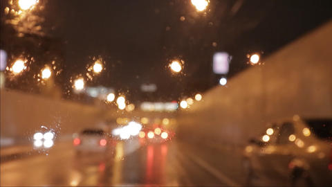 car window rain night background defocused in motion time... Stock Video Footage