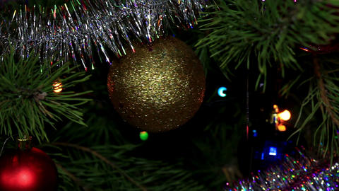 Christmas tree twinkle lights Stock Video Footage