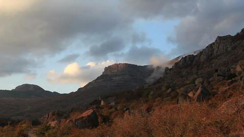 Timelapse sunset in the mountains Demerdji. Alushta,... Stock Video Footage