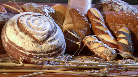 german bakery many different breads dolly right 10756 Stock Video Footage