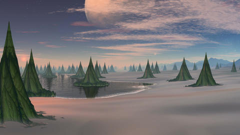 City (wood) of aliens and major planet Stock Video Footage