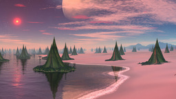City (wood) of aliens and major planet Animation