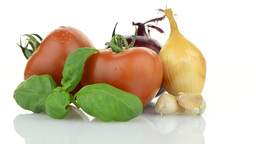Onion, tomato and basil leaves still life Stock Video Footage
