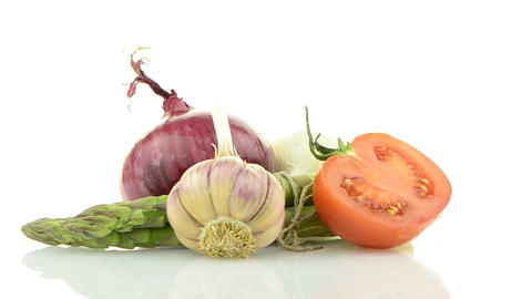 Onion, tomato and garlic still life Stock Video Footage