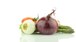 Onion, tomato and garlic still life Stock Video Footage