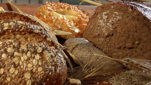 german bakery many different breads dolly close 10758 Stock Video Footage