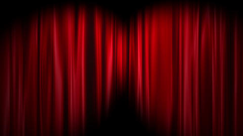 Red Curtains open, white background Stock Video Footage