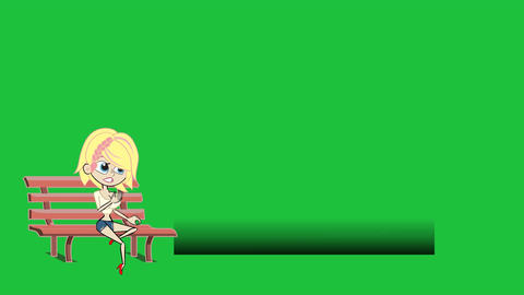 Cartoon Girl on Bench, Lower Thirds with Greenscre Stock Video Footage