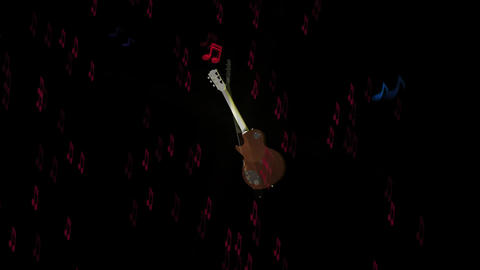 Guitar Animation with Musical Effects Stock Video Footage