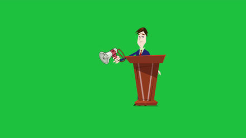"""Now Hear this"", Cartoon Announcer Animation with Green... Stock Video Footage"