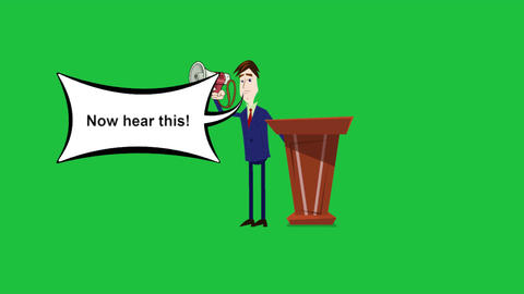 """""""Now Hear this"""", Cartoon Announcer Animation with Green... Stock Video Footage"""