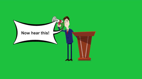 """Now Hear this"", Cartoon Announcer Animation with Green Screen Background Animation"