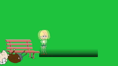 Cartoon Girl on Bench, Lower Thirds with Greenscreen Stock Video Footage