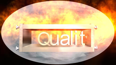 """Quality"" Logo Box with Earth Globe, Version 3 Stock Video Footage"