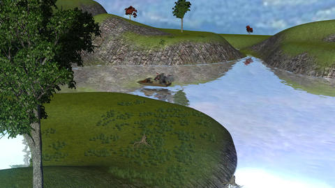 Idyllic River Scene with Hoverboat Animation