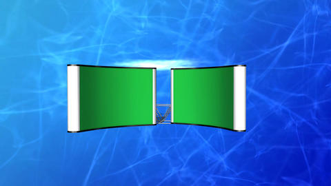 Two Greenscreen Monitors on Blue Background Stock Video Footage