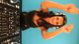 Female dj dancing to the music Stock Video Footage