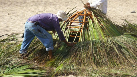 Palapa construction Stock Video Footage