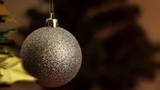 Christmas-tree decorations on starshaped background Footage
