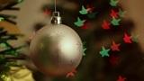 Christmas-tree decorations on starshaped background Footage
