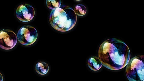 Soap Bubbles / Black Background - Calm Video Background Loop Stock Video Footage