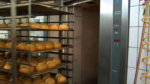 german bakery roll bun out of rotary oven 10768 Stock Video Footage
