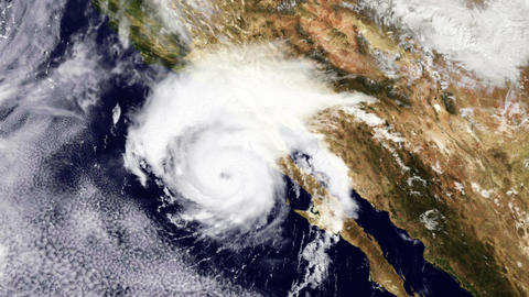 Hurricane USA West Coast Satellite Design 01 Stock Video Footage