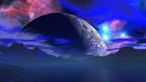 Huge Planet Over The Horizon stock footage