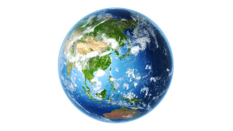 Realistic Earth Rotating on White (Loop) Stock Video Footage