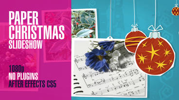 Paper Christmas Slideshow Pan After Effects Template