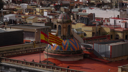 Spain Flag And Senyera On Breeze, Dome Of Palau De La Generalitat De Catalunya stock footage