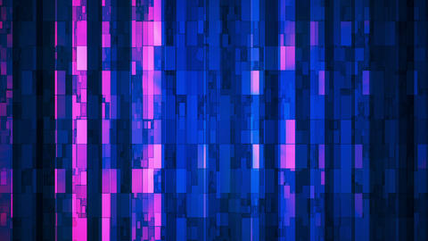 Broadcast Twinkling Vertical Hi-Tech Bars, Blue Magenta, Abstract, Loopable, HD Animation
